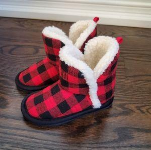 Joe Fresh Red Plaid Slippers Size 6/7 Small